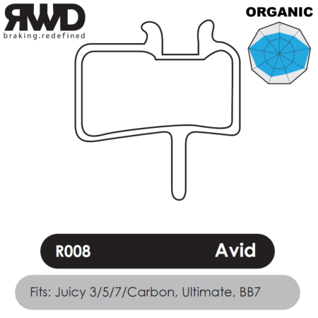 RWD R008 Avid Juicy Organic Disc Brake Pads - Superior Friction