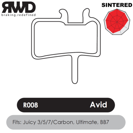 RWD R008 Avid Juicy Sintered Disc Brake Pads - Superior Friction