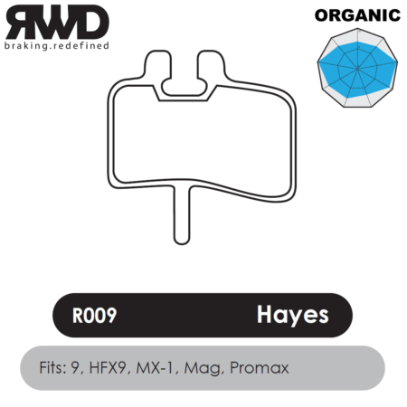 RWD R009 Hayes Organic Disc Brake Pads - Superior Friction