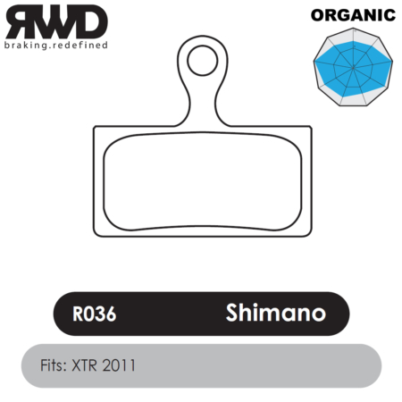 RWD R036 Shimano XTR Organic Disc Brake Pads - Superior Friction